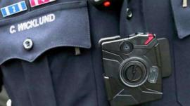 Body camera worn by US police officers.