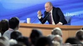 Russian President Vladimir Putin speaks during his annual news conference