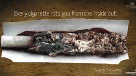 Public Health England handout of a graphic anti-smoking advert