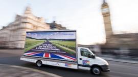 Campaign van outside Houses of Parliament