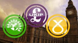 Green, UKIP and SNP party logos