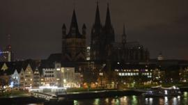The illumination of the world famous Cologne cathedral is turned off during a rally called