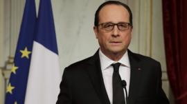 French President Francois Hollande delivers a speech at the Elysee Palace after a shooting at the Paris headquarters of satirical weekly Charlie Hebdo killing at least 12 people and injuring many, January 7, 2015