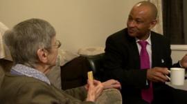 Dementia patient Grace Jones with 'dementia friend' Tony O'Flaherty