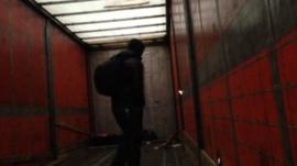 Illegal immigrant leaves the lorry on the Belgium border