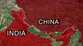 Map showing the India-China border