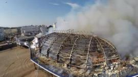 Eastbourne Pier fire filmed by a drone