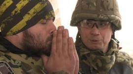Two Ukrainian volunteers