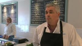 Craig Edwards uses social media to promote his fishmonger's in Aberystwyth