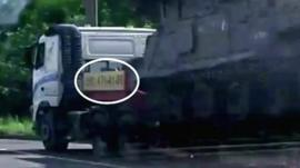 A lorry carrying a Buk Missile launcher