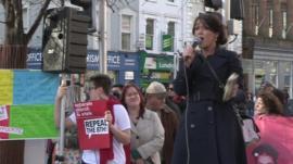 woman at rally