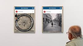 Instagram pictures in an art gallery