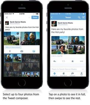 Two phone showing new Twitter features