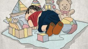 """'Tweet with cartoon of dead child surrounded by toys, with the caption """"In a better place""""' from the web at 'http://ichef.bbci.co.uk/news/304/cpsprodpb/1152A/production/_87245907_syrianboy1.png'"""