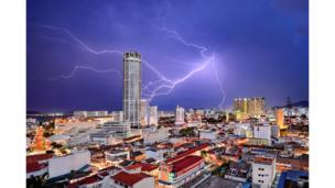 Thunderstorm in George Town, the capital of Penang state in Malaysia,