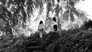 Children on a woodland path