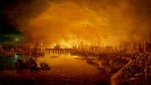 'The Fire of London, September 1666 -unknown artist' from the web at 'http://ichef.bbci.co.uk/news/304/cpsprodpb/1231D/production/_86652547_x1024newbhc0291.jpg'