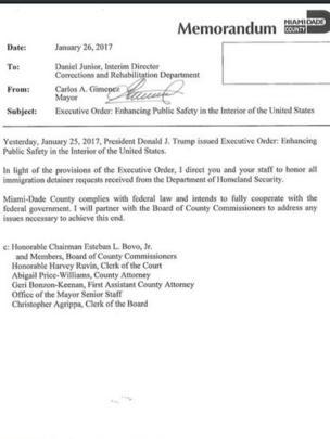 La orden ejecutiva firmada por Carlos Gimenez el día después de que Trump ordenara cortar fondos federales a las ciudades