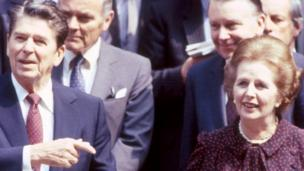 'Ronald Reagan and Margaret Thatcher in 1982' from the web at 'http://ichef.bbci.co.uk/news/304/cpsprodpb/18423/production/_87436399_reaganthatcher_bbc.jpg'