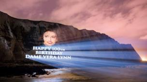 """A Dame Vera Lynn portrait projected onto the White Cliffs of Dover Dame Vera said: """"It is an unprecedented honour to have my birthday marked in"""