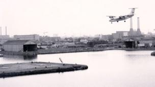 Captain Harry Ghee lands Dash 7 G-BRYA City of Plymouth on the 1000m Heron Quays