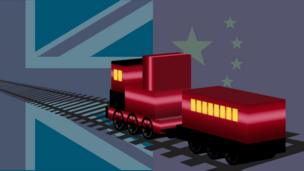3D graphic of train with Chinese and UK flag behind