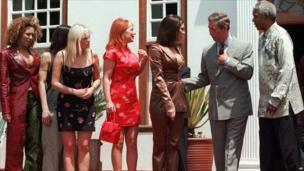 Nelson Mandela (R) with Prince Charles and the Spice Girls, 1997