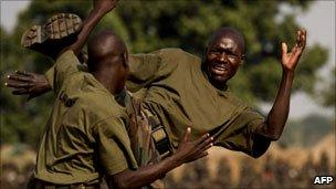 Ugandan soldiers training