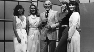 "Sir Bruce Forsyth seen here with the four female hostesses, or ""Dolly Dealers"" of ""Play Your Cards Right""; Denny Kemp, Natalie Shaw, Jo Thomas and Yvonne Younger."