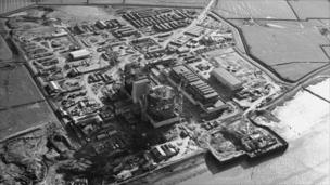 Oldbury Power Station - view from the air of Oldbury power station under construction
