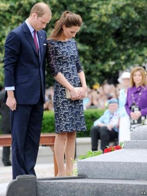 The Duke and Duchess of Cambridge at the national war memorial in Canada