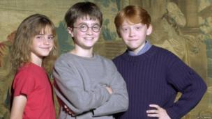 Actors Emma Watson, Rupert Grint and Daniel Radcliffe attend a photocall to present the new cast of the Harry Potter Films on August 23, 2000 in London