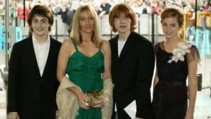 Actor Daniel Radcliffe, writer J K Rowling and actors Rupert Grint and Emma Watson attend the UK Premiere of Harry Potter And The Prisoner Of Azkaban at the Odeon Leicester Square on May 30, 2004 in London