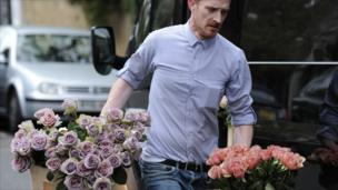 Flowers are delivered to the north London home of former Beatle Paul McCartney on 8 October, 2011
