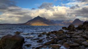 Loch Scavaig on Skye with view to the Black Cuillin Hills.