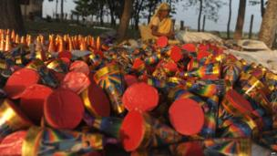 Hundreds of firecrackers