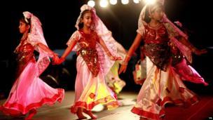 Girls performing at Diwali celebration