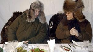 Silvio Berlusconi (right) jokes with Russian President Vladimir Putin at Zavidovo, outside Moscow, 3 February 2003
