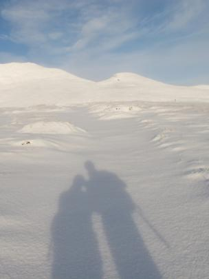 Shadows of people on fresh snow
