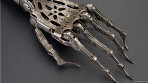 A steel and brass hand. Credit: Science Museum, Brought to Life exhibit