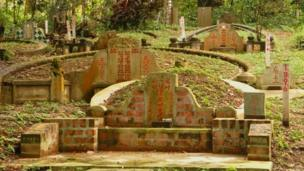 Graves marked for exhumation at Bukit Brown cemetery in Singapore 30 March, 2012