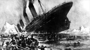 A drawing of how the Titanic sank
