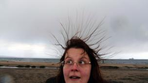 Susan and her static hair on the beach