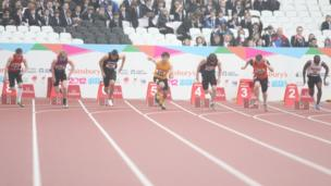 Boys 100m final at the School Games