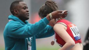 Daneil Caines presents the medals at the School Games