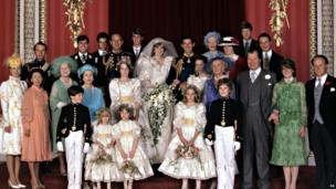 The Royal Wedding Group in the Throne Room at Buckingham Palace on 29th July 1981 with the bride and groom, TRH The Prince and The Princess of Wales, in the centre.