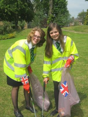 Catmose College students show off high visability jackets as they undertake litter picking