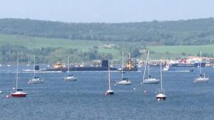 Submarine and boats off the coast of Helensburgh