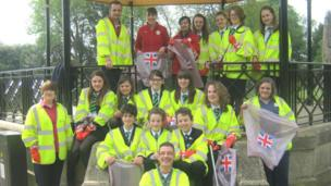 Catmose College volunteers show off their hardwork with litter bags and gloves decorated with Union flags to mark the Diamond Jubilee celebrations.