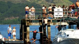 People on the pier at Luss